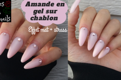 Amande-en-gel-sur-chablon-effet-mat-strass-roses-on-the-nails