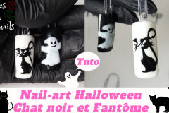 Nail-art-Halloween-Chat-noir-_-Fantôme-Roses-on-the-nails
